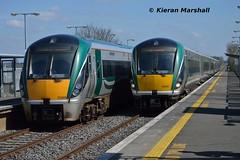 22003+22055 arrive at Monasterevin, 7/4/15 (hurricanemk1c) Tags: irish train rail railway trains railways irishrail rok rotem 22003 2015 icr iarnrd 22000 ireann monasterevin iarnrdireann 3pce 1220heustonportlaoise