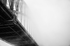 Obscured (Leighton Wallis) Tags: weather fog sunrise dawn sony sydney australia nsw newsouthwales alpha sydneyharbourbridge f40 milsonspoint 1635mm mirrorless a7r emount ilce7r