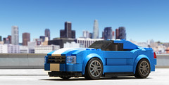 Ford Mustang with modded front (hachiroku24) Tags: blue ford car speed mod lego vehicle mustang champions
