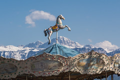 Jump (bertrandwaridel) Tags: horse mountains alps switzerland spring suisse carousel lausanne april merrygoround ouchy woodenhorse vaud 2016 lausanneouchy