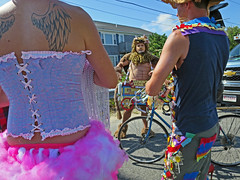 PtownTattooWings (fotosqrrl) Tags: provincetown massachusetts streetphotography snailroad commercialstreet carnival parade preparations costumes corset bodice animalcrackers bicycle
