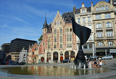 Summer in the city (angelsgermain) Tags: city houses brussels summer people sculpture sunlight streets cars fountain pool buildings reflections town belgium belgique belgie bruxelles heat brussel coudenberg lapharmacieanglaise