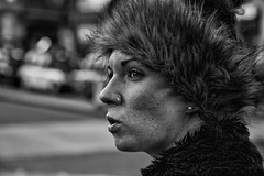 Women with beautiful eyes, eye lashes and Fur hat IMG_2121-Edit (roger_thelwell) Tags: life street city uk winter portrait england people urban bw white black streets cold london eye lamp monochrome beautiful westminster beauty hat rain leather mobile umbrella hair bag walking fur real photography mono eyes women chat shiny phone lashes with traffic post natural photos britain circus cigarette candid cab taxi great over sac hats cell photographic smoking lamppost photographs oxford conversation shiney talking shoulder handbag stud speak speaking studs commuters furhat scak