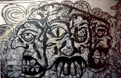 Graffiti - Forte Prenestino - Roma - 1990 (Nechator) Tags: walter italy color roma film analog canon graffiti punk italia arte centro suburbia spray scan concerto writers mochi periferia colori notte 1990 analogica artista notturno crossover t70 pellicola sociale occupazione occupato centocelle forteprenestino antagonista nechator mochiwalter konikasrg