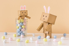 The Danbo Bunnies (Arielle.Nadel) Tags: stilllife bunnies easter eggs yotsuba danbo toyphotography revoltech  danboard  canon5dmarkiii