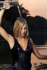 Sandra in the lake (Wet and Messy Photography) Tags: woman lake wet water girl swim wasser dive blonde wethair nass wetlook wetdress nassehaare