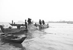 Cambodian Fishermen (sparksy2k14) Tags: bw canon river boats eos fishing cambodia delhi 5d nets