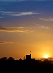 Equinox (scottprice16) Tags: sillhouette historic monument castle ribblevalley sunset uk england lancashire clitheroe clitheroecastle clouds sun equinox spectrum colours blue orange canong1xmark2 shadow evening march21st 2015