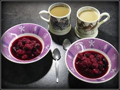 0755 v1 Still life at breakfast (Andy in relax mode) Tags: coffee metal fruit breakfast mugs stainlesssteel tea spoon mmm pottery ccc rrr bowls raspberries blackberries sss ppp crockery fff bbb ttt iphotocrop 20160507