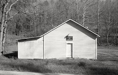 Rural Church (matthew.vortex) Tags: blackandwhite church monochrome rural hp5 ilford yashica lynx zonesystem anseladams lynx5000