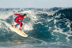 Red wetsuit - Tallow Beach surfer (sbyrnedotcom) Tags: ocean sea beach waves action australia surfing nsw surfers byronbay tallowbeach