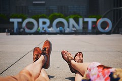 Summer in the 6 (cookedphotos) Tags: summer toronto cute love feet sign typography shoes couple fuji dress cityhall sandals streetphotography sneakers shorts nathanphillipssquare 23mm xt1 vsco 3dto