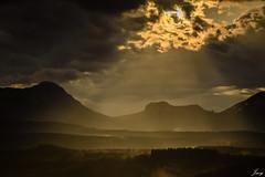 unforeseen (Javy Njera) Tags: light naturaleza sun mountain storm luz sol nature fog clouds landscape valle paisaje valley nubes tormenta rays montaa niebla paisvasco rayos unforeseen