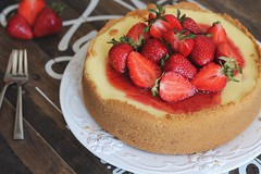 Strawberry cheesecake (olgakasanova) Tags: red food white color cooking cake cheese canon dessert yummy strawberry sweet rustic may cream picture cook plate fork cheesecake fresh foodporn delicacy foodie mascarpone foodphoto foodstyle