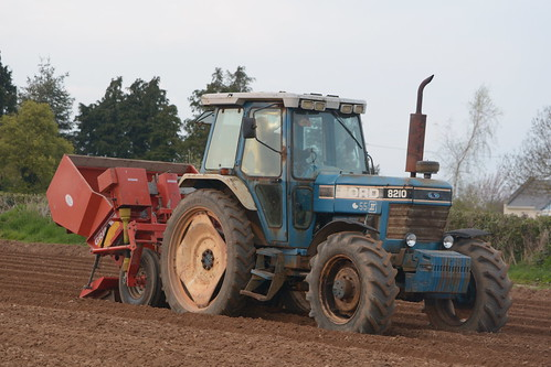Ford 8210 Tractor with a Grimmer VL20B 4 Row Potato Planter