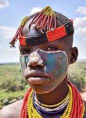 Karo Woman, Ethiopia (Rod Waddington) Tags: africa portrait woman color colour girl face female river beads costume african painted traditional tribal afrika omovalley ethiopia tribe ethnic hairstyle karo ethnicity afrique ethiopian omo thiopien etiopia ethiopie etiopian omoriver