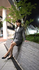 DSC07563 (mimo-momo) Tags: night ol gray crossdressing business suit transvestite crossdresser crossdress tightskirt