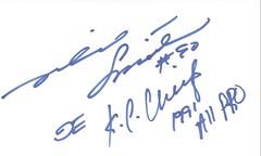 Autographed 3x5 Card - Neil Smith (Joe Merchant) Tags: autographed 3x5 card neil smith football all pro defensive end kansas city chiefs nfl