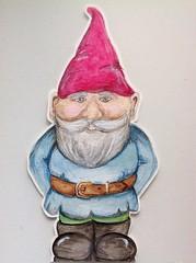 Gnome mail (Bflat52) Tags: gnome postcard watercolour mailart swapbot