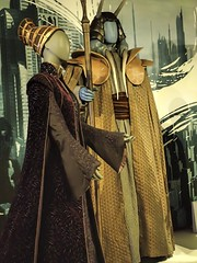 "Chancellor Amidala's gown from Attack of the Clones that combines African and Elizabethan elements and Mas Amedda's senatorial robes with leather shoulderpieces from ""Revenge of the Sith"" in Star Wars and the Power of Costume exhibit (mharrsch) Tags: seattle fashion smithsonian washington starwars costume clothing display exhibit senate amidala empmuseum mharrsch masamedda starwarsandthepowerofcostume senatorialrobes"