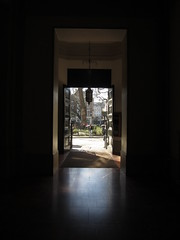 Square through rectangle (shaggy359) Tags: park door reflection london church lamp saint st walking square catholic view walk soho entrance patrick pedestrian doorway beyond inside exit