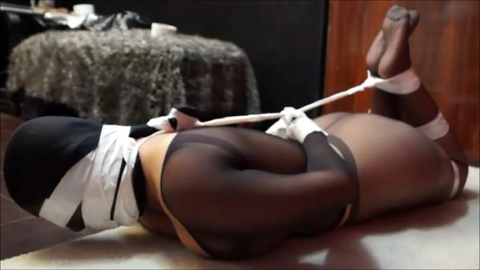 Girl feet bondage struggle and ebony 1