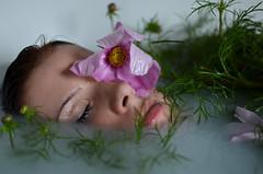 (Lena Rau) Tags: pink light portrait white flower green water girl beauty face glitter spring sad natural skin sleep bathtub melancholy available