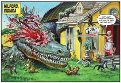 Milford, Indiana (Tom Simpson) Tags: cats art cat comics painting dinosaur comicbook shotgun dinosaurs catlady 2013 earlnorem 2010s dinosaursattack
