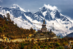 Place of Real Myths (TranceVelebit) Tags: nepal people mountain mountains clouds hiking stupa mount valley mountaineering peaks himalaya khumbu everest himalayas lhotse tenzing norgay sagarmatha