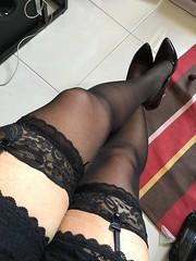 Stockings clad legs. (xiaostar01) Tags: stockings heels garters otokonoko