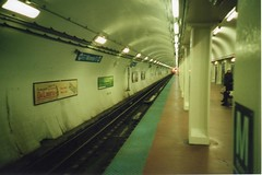 The El Below (RW Sinclair) Tags: camera city railroad blue urban chicago color colour film analog subway gold illinois spring lomo lca lomography blueline kodak rail el line april l analogue 135 russian 32mm 2016 minitar
