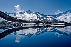 Alpine Reflection (endrunner) Tags: lake snow water analog skyscape landscape glacier k64