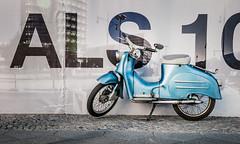 ... Berlin Blue Vintage ... ( ... a little piece of memory) (Fede Falces ( ...... )) Tags: blue urban color berlin bike sign contrast vintage nikon scooter souvenir memory d90