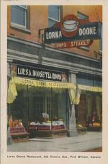 LORNA DOONE'S Restaurant Postcard - n.d. (steveartist) Tags: postcards lornadoonerestaurant canadianpostcards tearooms awnings storefronts neonsigns awningsigns window signs antiquepostcards