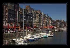 Hornfleur Harbour (Audrey A Jackson) Tags: blue sea sky france colour canon boats harbour sidewalk masts cafes harbourwall hornfleur 60d 1001nightsmagiccity