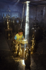The bell (SaravutWhanset) Tags: sunlight girl children asian asia bell smoke culture ethnicity bankkok chield exploer
