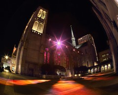 Grace Cathedral Happenings (RZ68) Tags: california street light color tower art church glass night big san francisco long exposure catholic cathedral hill prayer ground courtyard grace led fisheye stained velvia installation fields provia shinning nob rz67 e100