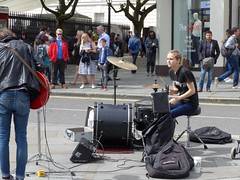 Unidentified duo (moley75) Tags: london strand duo busking charingcross duncannonstreet maleguitar femaledrums