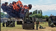 Rolling Thunder (zoomerphil) Tags: war peace revival gi us army soldier vietnam napalm pyro pyrotechnic jeep attack strike fire explosion bang hit