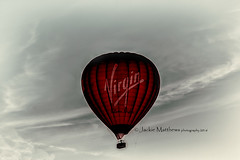 Virgin Hot Air balloon flying over Aylesbury Vale #virginballonflights (Jackie Matthews Photography) Tags: hotairballoon flight sky clouds red aylesbury buckinghamshire canon jackiematthewsphotography