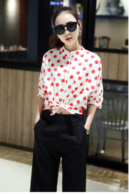 Specials everyday shirts girls cotton summer 2016 retro School of Korean Air New polka dot dress