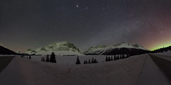 Bow Lake from the road (Sandra Herber) Tags: winter snow canada night stars astrophotography alberta banff northernlights auroraborealis milkyway bowlake