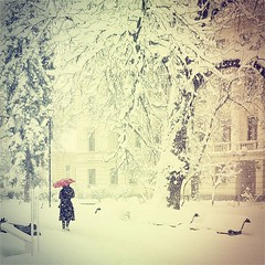 Winter in Sofia (~ siko sn ~) Tags: street city winter red urban snow umbrella square town spring sofia retro bulgaria   vsco gfranq