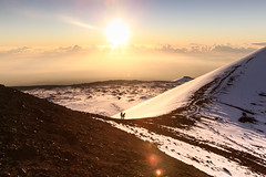 Tropical Snow (ro_chelle) Tags: vacation mountain holiday snow sunrise canon volcano hawaii lava altitude sledding bigisland geology elevation tropics maunakea cindercone whitemountain hawaiisnow dormantvolcano adventurephotography hawaiianvolcano