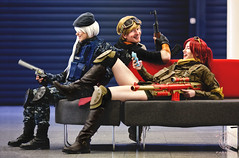 On the Couch - RWBY Cosplay (saroston) Tags: people portraits tv cosplay action military teeth gaming guns rooster battlefield cosplayers roosterteeth cosplaygirl rwby
