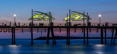 King Harbor, Redondo Beach (mc_creative) Tags: longexposure blue sunset red orange beach night pier losangeles twilight waves purple angle wide pacificocean redondobeach nauticaltwilight