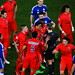 Outraged Paris Saint-Germain player Thiago Silva protests at referee Bjorn Kuipers, surrounded by Blaise Matuidi, Marquinhos, Marco Verratti, David Luiz, Edinson Cavani and Maxwell. Chelsea FC players Eden Hazard and Cesar Azpilicueta look on