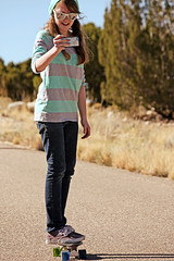 (K. Sawyer Photography) Tags: road trees portrait girl sunglasses phone skateboarding cellphone teen skateboard teenager recording teenage placitasnewmexico