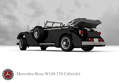 Mercedes-Benz W150 770 Grosser Cabriolet (1938 - 1943) (lego911) Tags: mercedesbenz mercedes benz w150 770 grosser cabriolet 1938 1943 1930s 1940s luxury hitler third reich nazi germany german auto car moc model miniland lego lego911 ldd render cad povray supercharger supercharged lugnuts challenge 103 thefabulousforties fabulous forties