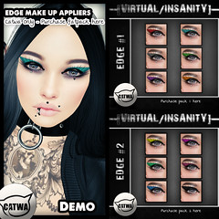 [THRIFT SHOP] EDGE #Fatpack Make-Up For Catwa only, this is our exclusive for the THRIFT SHOP ! ([VIRTUAL/INSANITY] / Loviathar Hellman) Tags: life make up wings mesh head wing makeup sl virtual edge second insanity cosmetics eyeshadow raven cosmetic applier catwa appliers